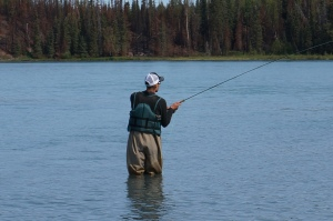 Fishing in the Kenai river post race.