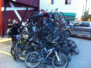The bike pile at Carousel. My Niner will never be the same.