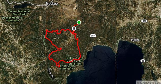 LT Tahoe Trail 100k bike course map 2016
